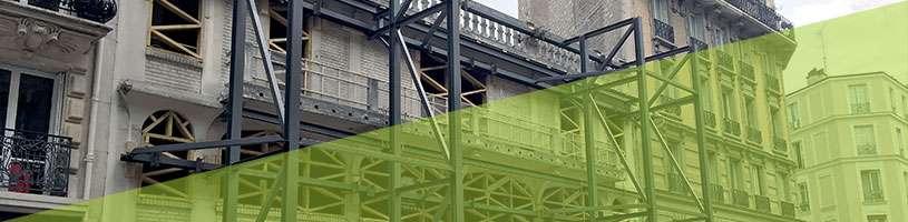 Étaiement : structure métallique pour stabilité de façade
