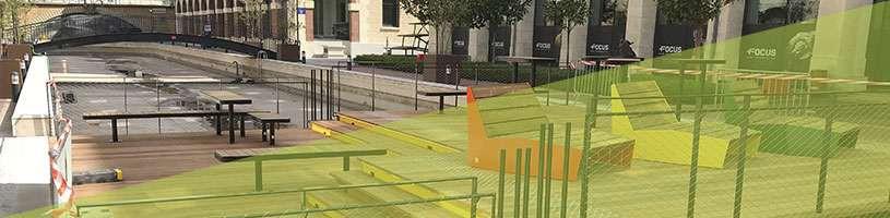 Une passerelle-plateforme pour les usagers du parc Icade